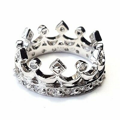 (SIZE 6) ROYAL CROWN RING Medieval Style King Queen CZ Gems .925 STERLING SILVER