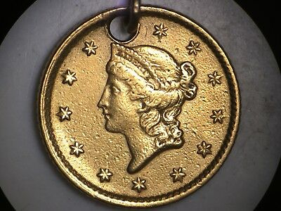 1854 Type 1 US Gold $1 Dollar Coin Holed With Loop