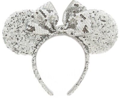 Minnie Mouse Ears Disney World Silver Sequin Rare Women's Headband NEW with tags