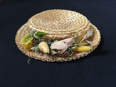 ANTIQUE VINTAGE STRAW HAT WITH DECORATION EARLY 1900's