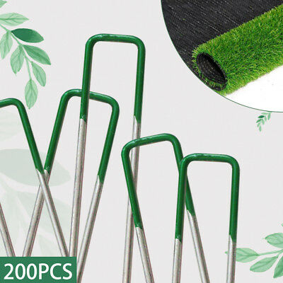 200Pcs Heavy Duty U Anchor Pins Pegs f Weed Mat Turf Lawn Synthetic Grass Tent
