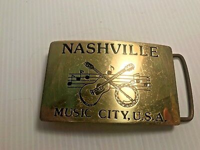 Vintage Solid Brass Belt Buckle-Nashville Music City USA Hand Crafted