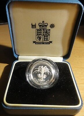 1990 Great Britain  Silver 1 Pound Proof Original Box~Leek ~Free Usa Shipping