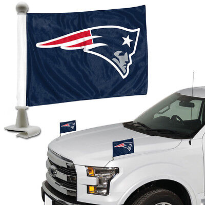 New England Patriots Set of 2 Ambassador Style Car Flags - Trunk, Hood