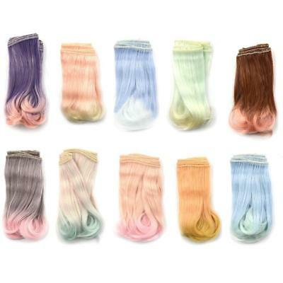 15x100cm Doll  Wig Gradient Hair for BJD SD Doll Colorful: