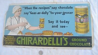 "Old street car adv. sign ""GHIRARDELLI'S GROUND CHOCOLATE"" 1910's-1920's 21""11"""