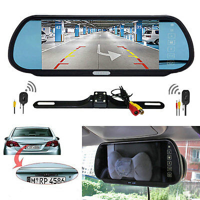 """7"""" Rear View Mirror+Wireless Camera Back Up System Universal for RV Car SUV 12V"""