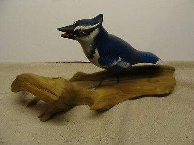 OLD VINTAGE Hand Painted Carved Blue Jay Bird Piece of Driftwood BLUEJAY BLUJAY