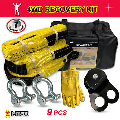 Recovery Kit 4WD 4X4 Winch Snatch Straps Bow Shackles Pulley Block 9PCS