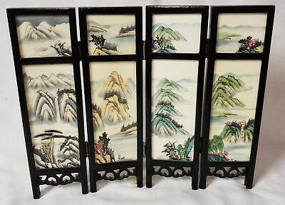 """Vintage Chinese/Japanese Asian 10"""" Miniature 4 Panel Marble Screen w/OB"""