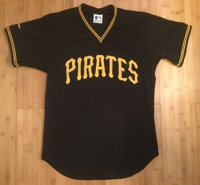 online store 1bf64 49fae RARE VTG 80S 90s Russell Pittsburgh Pirates Sewn Mesh Batting Practice  Jersey L