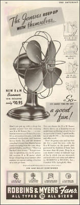 1941 WW 2 era AD ROBBINS & MYERS Oscillating Cooling Fans  110617