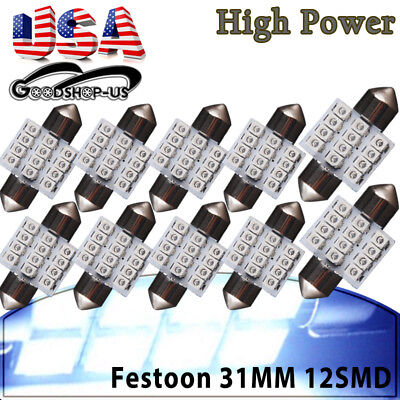 10x 8000k Blue 31mm 12SMD Festoon LED Dome Map Door Cargo Interior Lights Bulbs