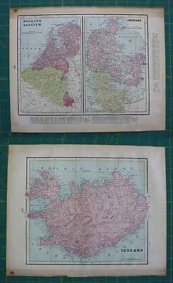 Holland Belgium Iceland Denmark Vintage Original 1899 Cram's World Atlas Map Lot