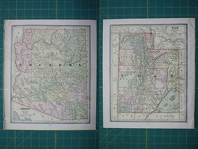 Arizona Utah Vintage Original 1885 Cram's World Atlas Map Lot