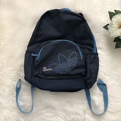 542a5ea0e1 Vintage Adidas Trefoil Logo Backpack Classic Book Bag School Bag Blue Nylon