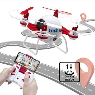 TechRC Nano Mini Bee RC Drone Quadcopter with HD Camera Live Video 2.4GHz-Red