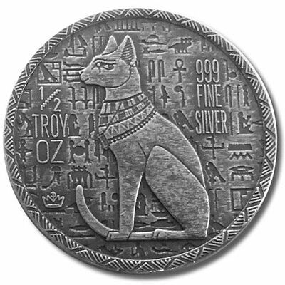 1/2 oz Monarch Egyptian Cat Goddess Bastet .999 Pure/Solid Silver Round