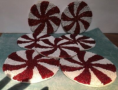 Beaded Peppermint Twist Candy Cane Drink Coaster Set of 7 Cloth Bottoms Vintage