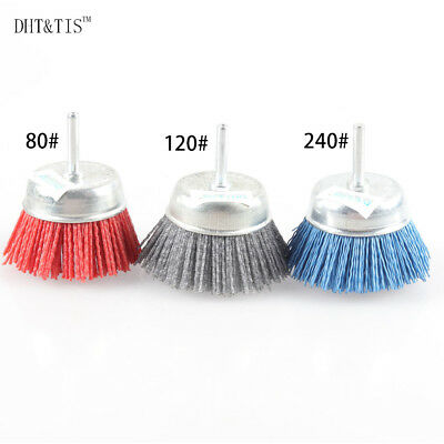 3 pieces Cup-shaped Abrasive Wire Polishing Brush OD75mm*6mm Shank for Carved