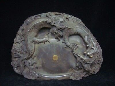 "Old Chinese Ink Stone Hand Carving Dragon Ink Slab ""ZuoFengYiCheng"" Mark"