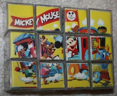 Vintage Disney Mickey Mouse PICTURE PUZZLE CUBES Blocks Snow White Donald Pluto