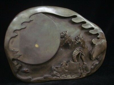 Quality Old Chinese Hand Carved Landscape Ink Stone InkSlab Mark