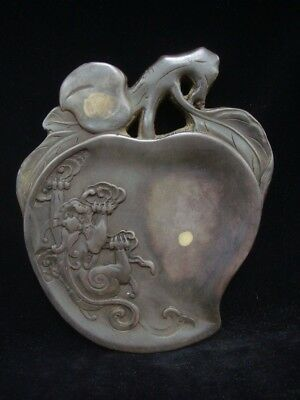 """Old Chinese Hand Carved Peach Ink Stone Ink Slab """"ZuoFengYiCheng"""" Marks"""