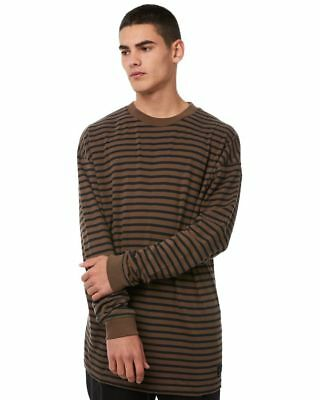 New Globe Men's Dion Line Back Mens Tee Long Sleeve Cotton Brown
