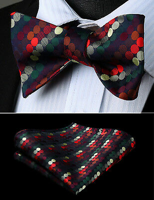 Hisdern Mens Party Red Green Polka Dot Self Bow Tie Pocket Square Set#BD803RS
