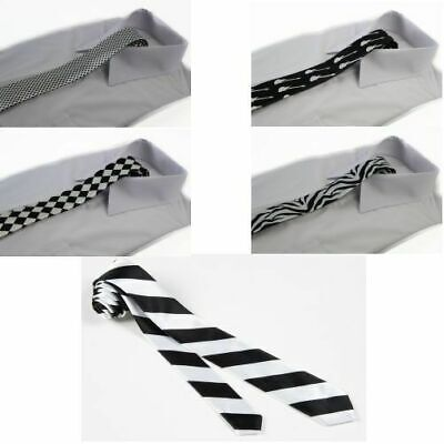 BLACK & WHITE SKINNY TIE Thin Narrow Slim Formal Wedding Men's Neck Mens Ties