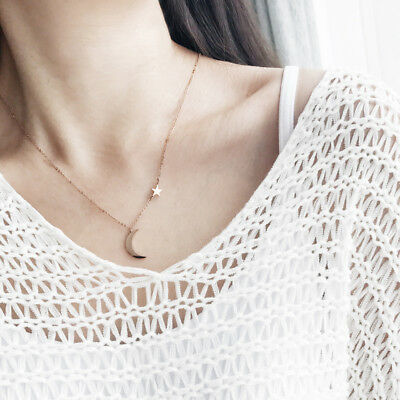 Women's Moon Star Pendant Choker Necklace Gold Silver Long Chain Jewelry Simple