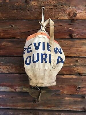 Vintage Antique REVIEW JOURNAL Seed Sower Spreader Farm Tool Bag Seeder Old