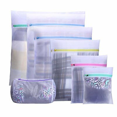 Mesh Laundry Bag,Set of 7 Wash Bags with Zipper for Hosiery,Sock,Underwear,Coat