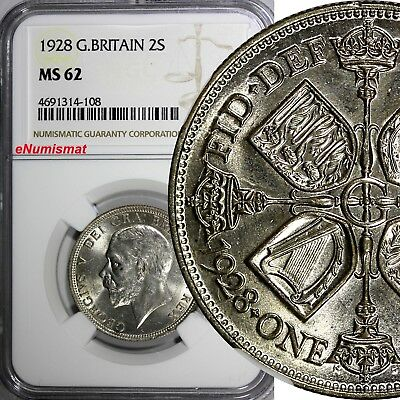 Great Britain George V Silver 1928 Florin , 2 Shillings NGC MS62 KM# 834