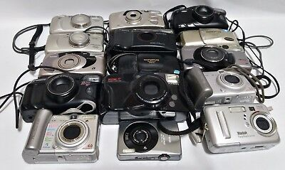 Used LOT of (12) 35mm Film & (3) Digital Cameras Untested for PARTS or REPAIR