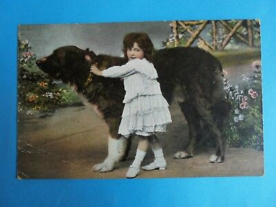 Young Girl And Dog Christmas Card Post Date 1908 The Popular Series