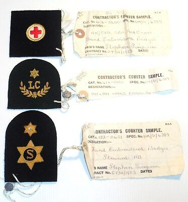 British Royal Navy Manufacturers WORK ROOM SAMPLE Insignia collection of 3