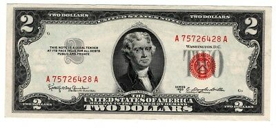 ✯ 1953 Two Dollar Note Red Seal ✯$2 Bill UNC ✯Old Paper OLD Currency✯
