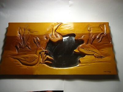 Hand Carved wood Folk Art DUCKS Wood Wall Hanging Relief Panel mirror