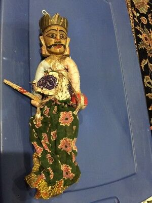Vintage Hand Crafted Thai Wooden Puppet-Hand Painted 2 faces-back And Front.