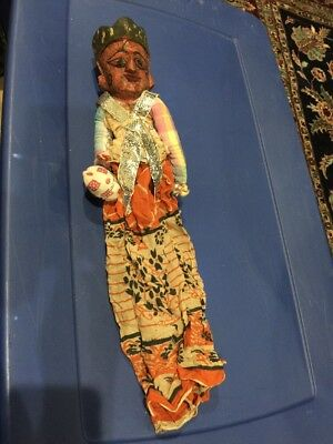 Vintage Hand Crafted Thai Wooden Puppet-Hand Painted 2 faces-dark Red Wood