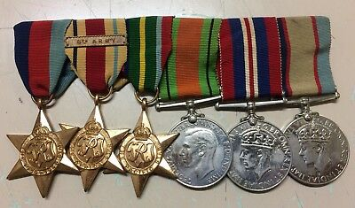 WW2 Medal Group Of 6 Including Africa Star 8th Army Bar & Pacific Star