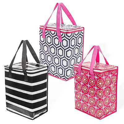 Planet E Reusable Grocery Ping Bags Colorful Collapsible Insulated