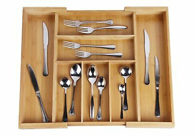 Drawer Dividers Expandable Utensil Cutlery Tray Bamboo Wooden Adjustable 7