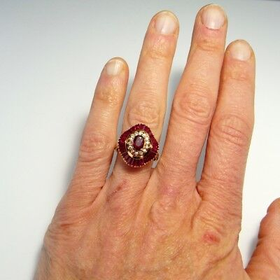 RED RUBY BALLERINA DIAMOND RING 18K Yellow Gold Cluster Engagement Statement 750