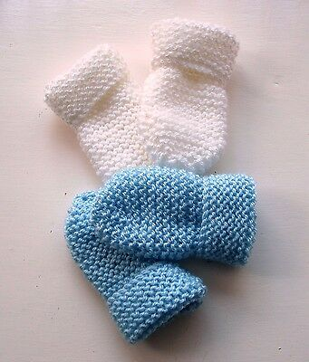 Baby Hand Knitted Mittens, 2 Pairs -  White & Pale Blue, 0-3 Months, New