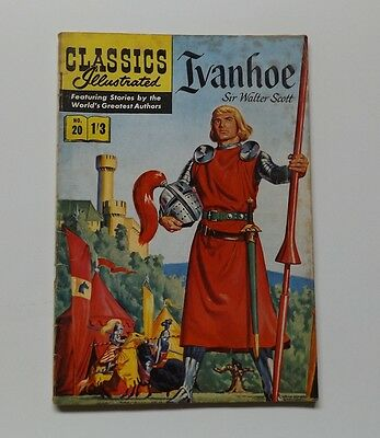 CLASSICS Illustrated comic No.20 IVANHOE UK 1950s 1960s edition 1'3 cover price