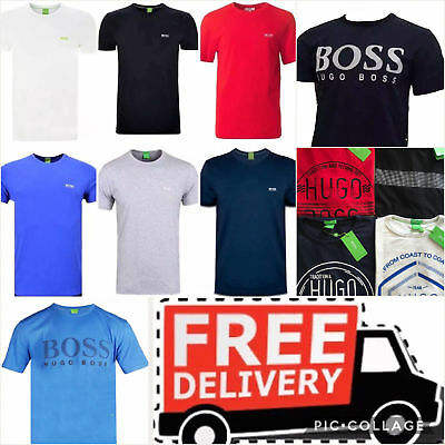 HUGO BOSS men's  t-shirt crew neck short sleeve pure cotton, SIZES: S M L XL XXL