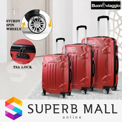 3x Lightweight Luggage Suitcase Set Trolley Hard Shell Case TSA Spinner - Red